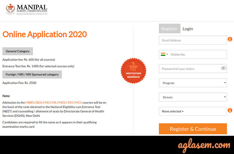Manipal University Application Form 2021