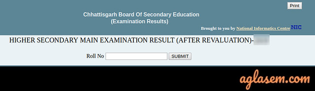 CGBSE 12th revaluation result