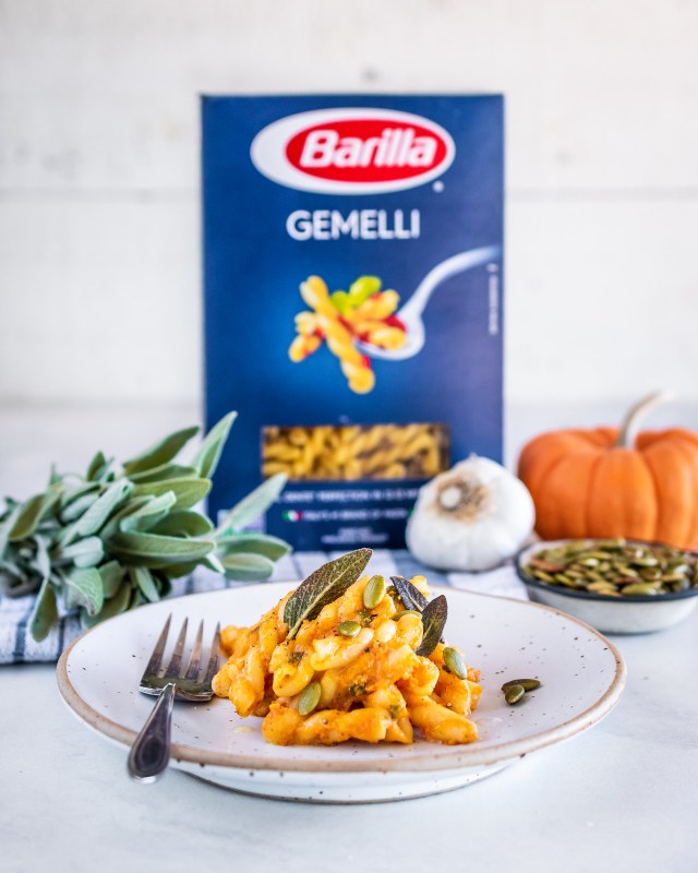 pumpkin gemelli with browned butter and sage
