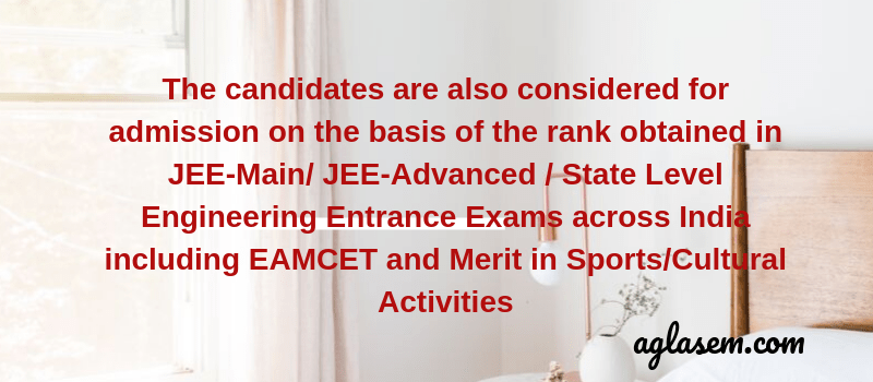About admission through JEE-Main and other entrance exam