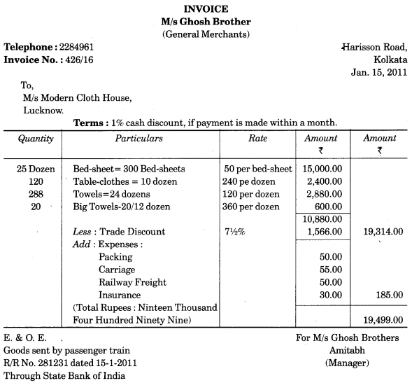 UP Board Solutions for Class 10 Commerce Chapter 10 Invoice, Mercentile Agents and Account Sale Q6