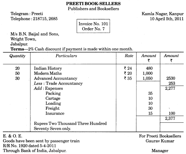 UP Board Solutions for Class 10 Commerce Chapter 10 Invoice, Mercentile Agents and Account Sale Q1