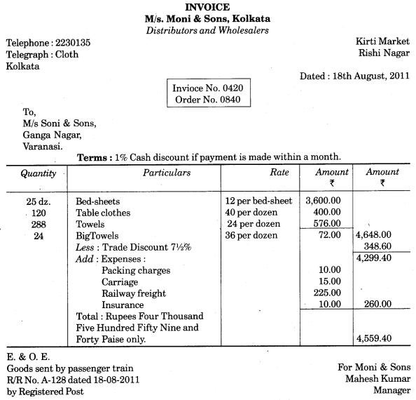 UP Board Solutions for Class 10 Commerce Chapter 10 Invoice, Mercentile Agents and Account Sale Q5