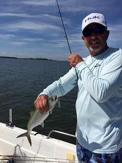 Herb Floyd holds up a Spanish mackerel he caught recently near the mouth of the Choptank River.