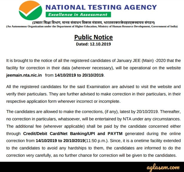 JEE Main 2020 Application Form Correction Notice