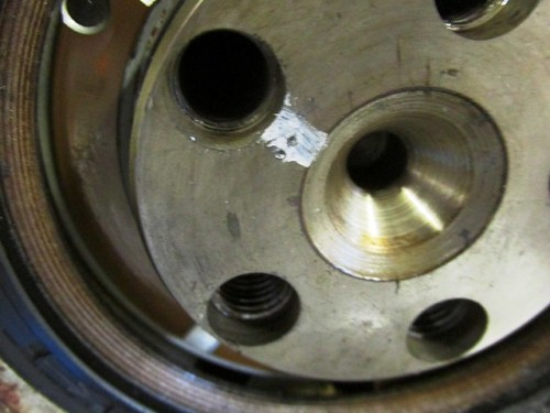 Punch Marks Added to Crankshaft Near Marked Bolt Hole