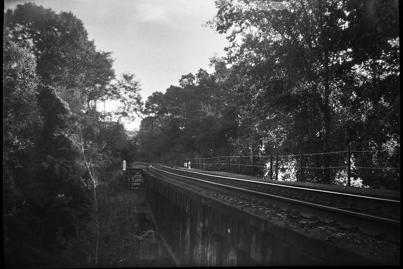 old raiload bridge, late light, Emma Road, Asheville, NC, JB Ensign box camera, Rollei RXP 400, HC-110 developer, 10.14.19