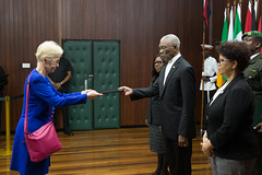 HE. Ute Konig, Ambassador of the Federal Republic of Germany to the Cooperative Republic of Guyana presents her Letters of Credence to President David Granger.