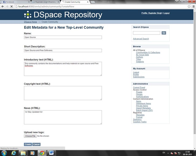 Create Dspace Top-Level Community