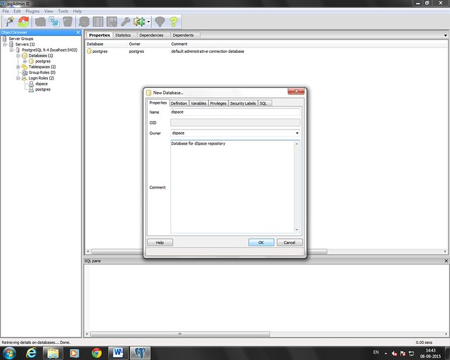 Dspace database creation