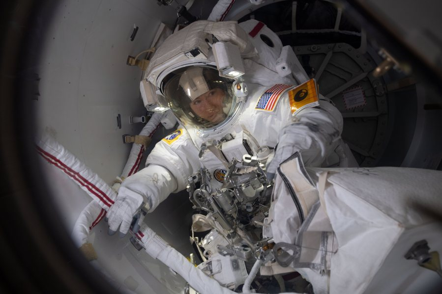 NASA astronaut Christina Koch prepares to exit into the vacuum of space