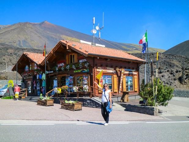 Casetas de sourvenirs cerca del Etna