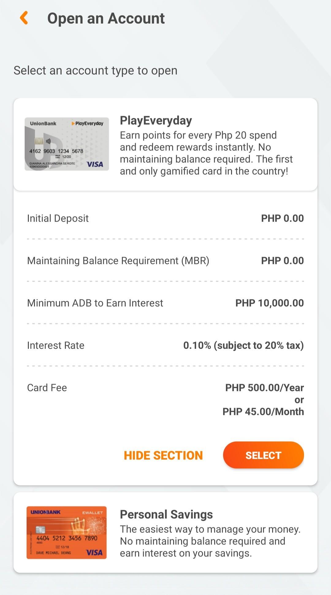 Opening PlayEveryday Debit Card using UnionBank Mobile App