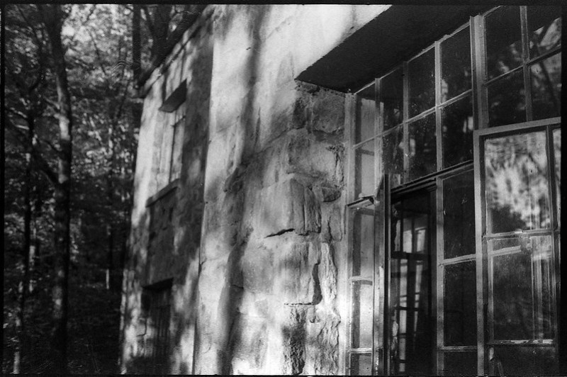 exterior details, architecture, Winnsborough Lodge, Montreat Conference Center, near Black Mountain, NC, Pentax Spotomatic,,Super Takumar 50mm f-1.4,  HC-110 developer, 10.21.19
