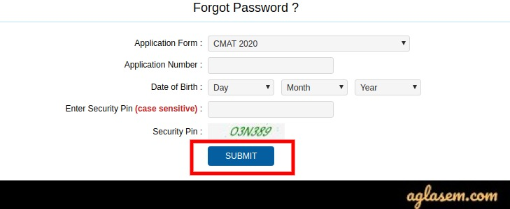 CMAT 2021 forgot password