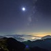 Moon and Milky way, Mountain Hehuan 合歡山