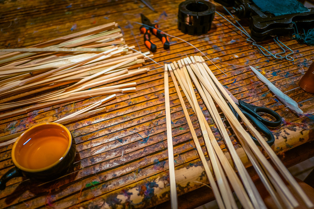 Attaching bamboo sticks together for lantern