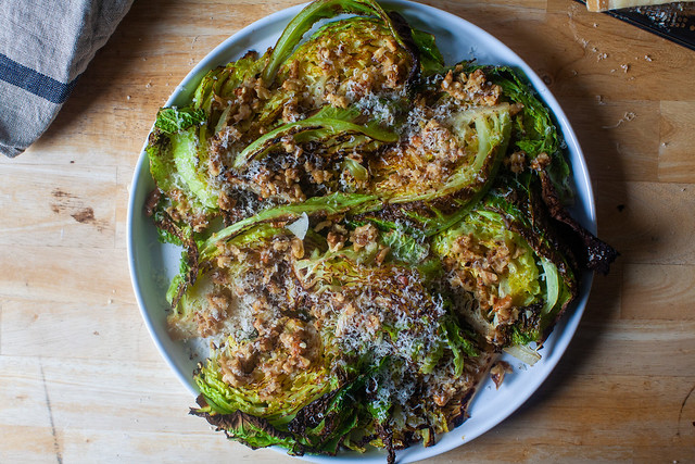 roasted cabbage with walnuts and parmesan