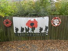 """""""Lest we Forget"""" Banner, Strachan Aberdeenshire, Oct 2019"""
