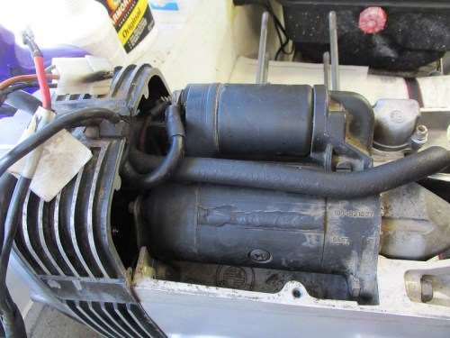 Starter Motor Underneath Top Engine Cover-Starter Solenoid At Top
