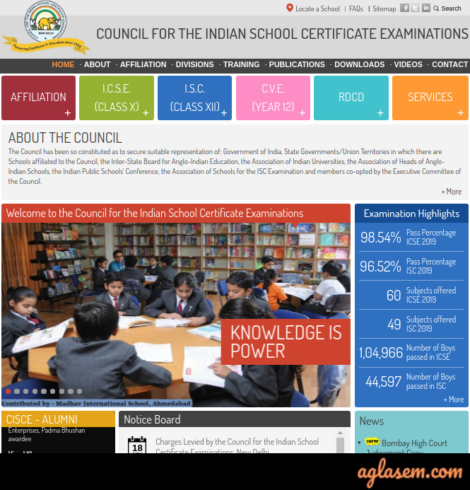 CISCE Time Table 2020