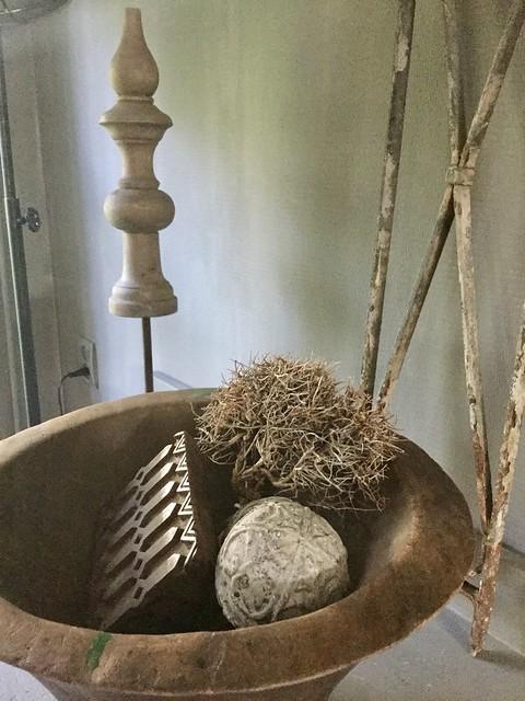 Oude vijzel houten bal stempel ornament