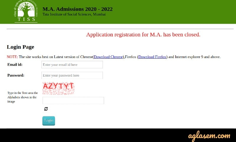 TISSNET admit card 2021 login