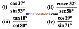RBSE Solutions for Class 10 Maths Chapter 7 Trigonometric Identities Ex 7.2 1