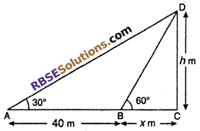 RBSE Solutions for Class 10 Maths Chapter 8 Height and Distance Miscellaneous Exercise 21
