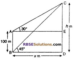 RBSE Solutions for Class 10 Maths Chapter 8 Height and Distance Additional Questions 44