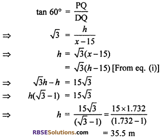RBSE Solutions for Class 10 Maths Chapter 8 Height and Distance Additional Questions 26