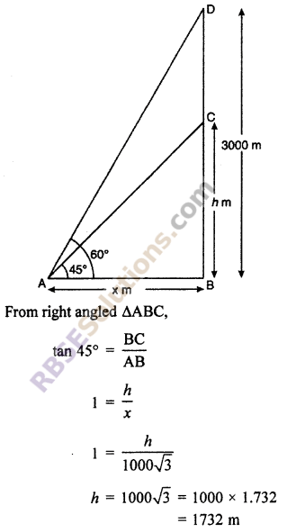 RBSE Solutions for Class 10 Maths Chapter 8 Height and Distance Additional Questions 35