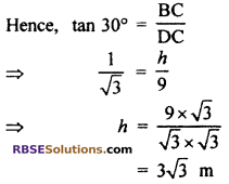 RBSE Solutions for Class 10 Maths Chapter 8 Height and Distance Additional Questions 53
