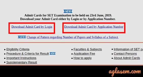 Maharashtra SET Admit Card