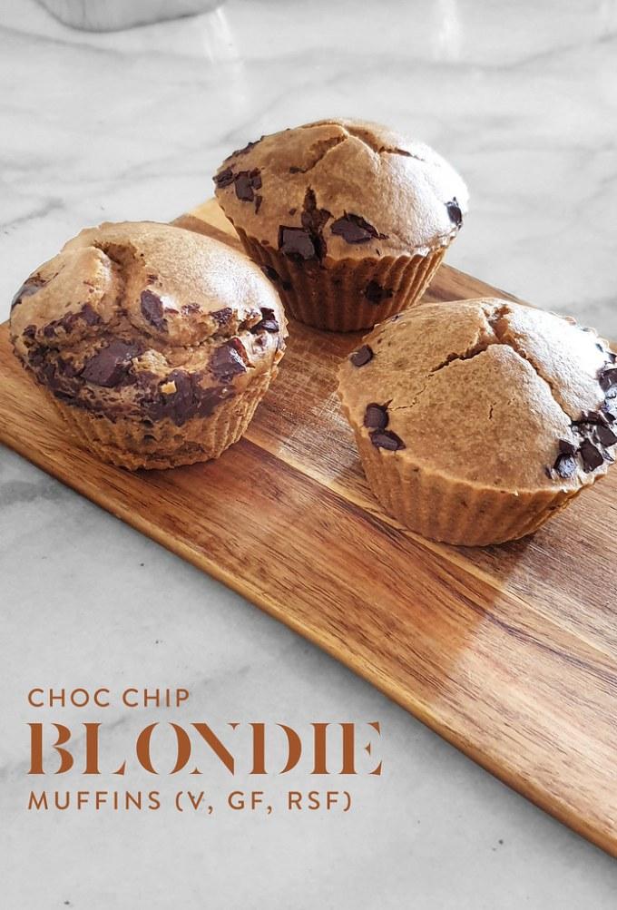 Choc Chip Blondie Muffins (Vegan, Gluten Free)