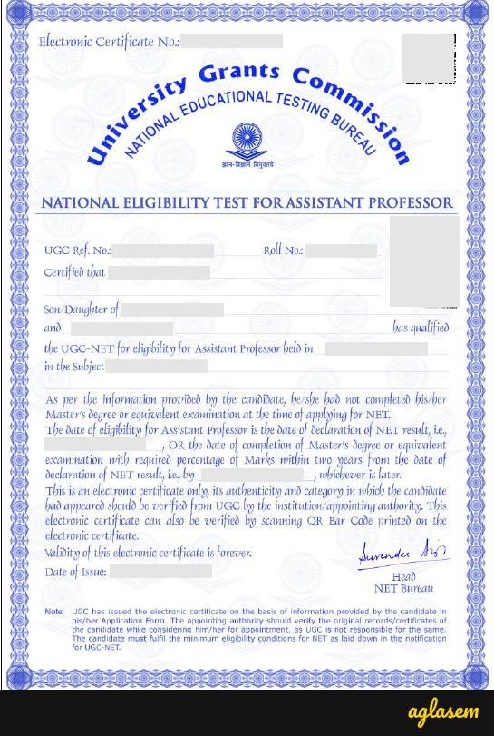 UGC NET Assistant Professor Certificate