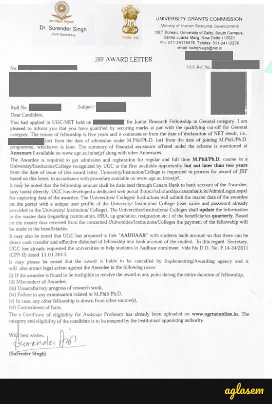 JRF Award Letter