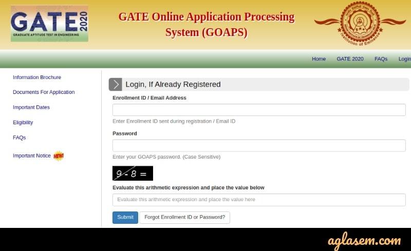 GATE 2021 GOAPS Login