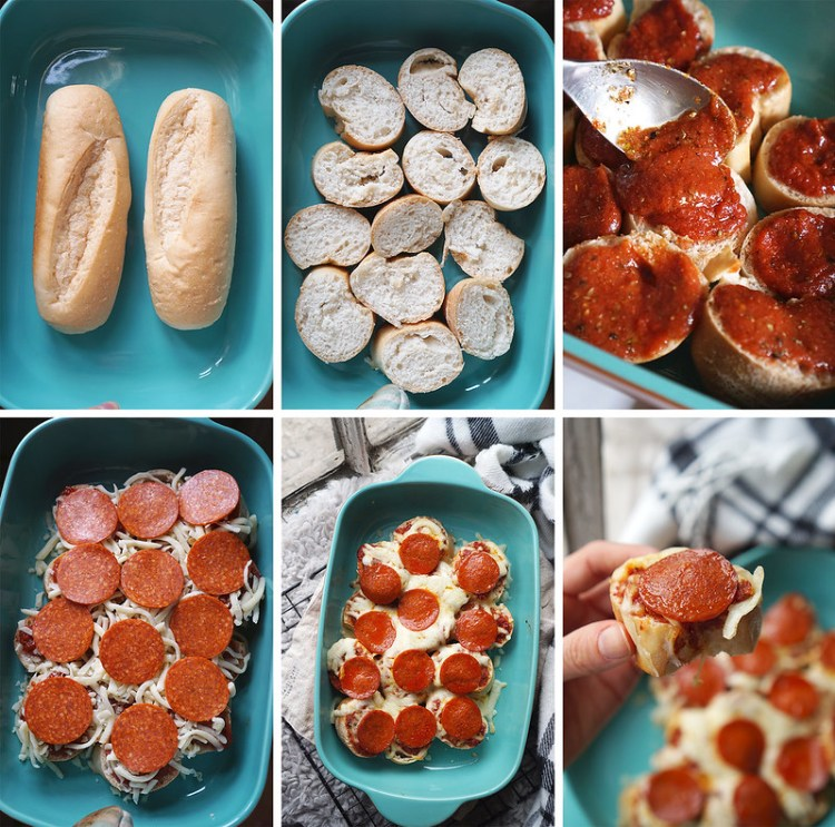 Gluten free pull apart pizza baguette bites