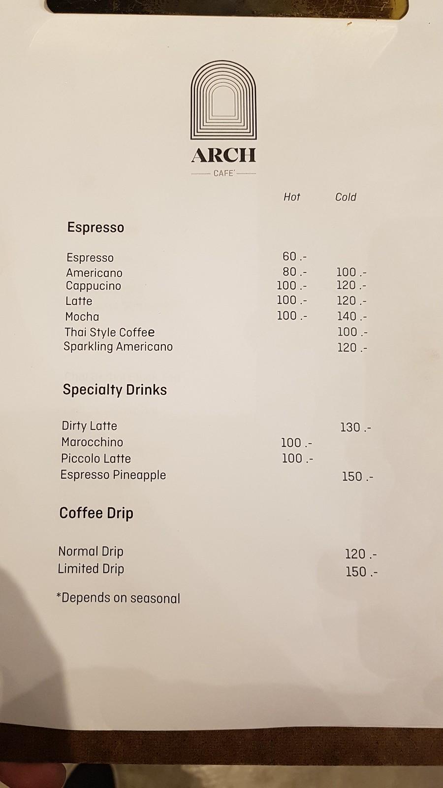เมนู ARCH Cafe - คาเฟ่ติด บีทีเอส ปุณณวิถี