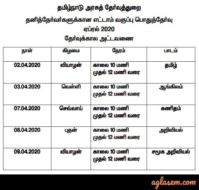 Tamil Nadu ESLC Time Table 2020