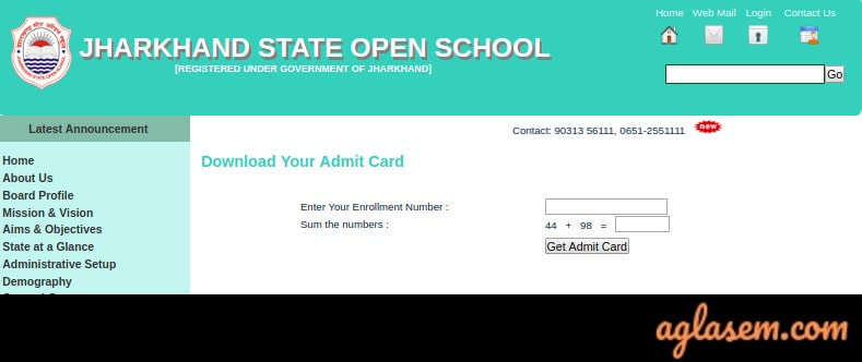 JSOS 10th Admit Card May 2020
