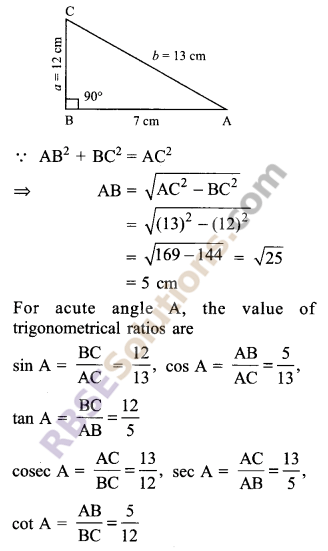 RBSE Solutions for Class 9 Maths Chapter 14 Trigonometric Ratios of Acute Angles Ex 14.1 3