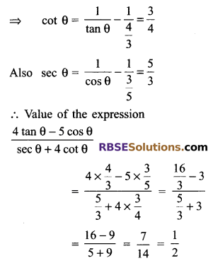 RBSE Solutions for Class 9 Maths Chapter 14 Trigonometric Ratios of Acute Angles Ex 14.2 13