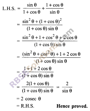 RBSE Solutions for Class 9 Maths Chapter 14 Trigonometric Ratios of Acute Angles Ex 14.3 14