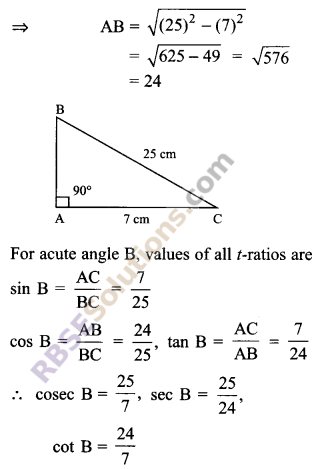 RBSE Solutions for Class 9 Maths Chapter 14 Trigonometric Ratios of Acute Angles Ex 14.1 1