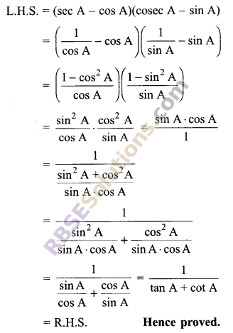 RBSE Solutions for Class 9 Maths Chapter 14 Trigonometric Ratios of Acute Angles Additional Questions 30