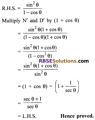 RBSE Solutions for Class 9 Maths Chapter 14 Trigonometric Ratios of Acute Angles Miscellaneous Exercise 34