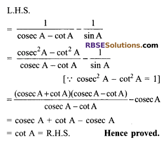 RBSE Solutions for Class 9 Maths Chapter 14 Trigonometric Ratios of Acute Angles Additional Questions 26