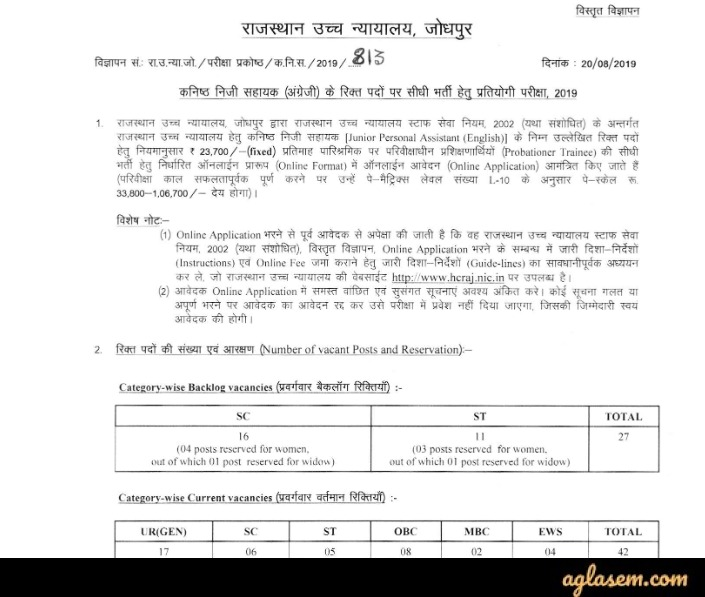 Rajasthan High Court Junior Personal Assistant Recruitment Notification 2020